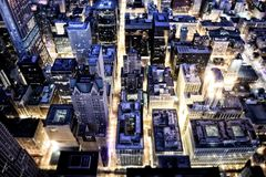 Aerial View of Building With Lights on during Night Time Royalty Free Stock Photography