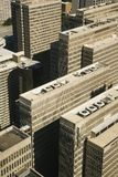 Aerial view of buildings stock image
