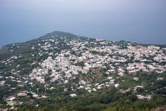 Aerial view of buildings in Anacapri from Monte Solaro Stock Images