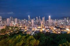 Aerial view of buildings in Balneario Camboriu city at night - Balneario Camboriu, Santa Catarina, Brazil Stock Images