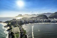 Aerial view of buildings on the Copacabana Beach in Rio de Janeiro Royalty Free Stock Photos