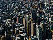 Aerial view of buildings downtown manhattan New York City USA or America. Aerial view of buildings of downtown manhattan New York City USA or America royalty free stock image