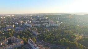 AERIAL VIEW. Buildings In Greenery Of City Of stock video footage