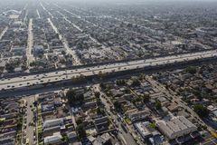 Aerial Harbor 110 Freeway South Los Angeles. Aerial view of buildings, homes and streets near the Harbor 110 freeway south of downtown Los Angeles in Southern royalty free stock image