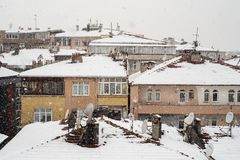 Aerial view of buildings in Istanbul, Turkey, during snow Royalty Free Stock Image