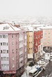 Aerial view of buildings in Istanbul, Turkey, during snow stock photography