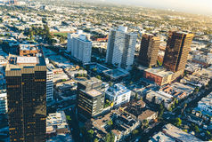 Aerial view of buildings on near Wilshire Blvd in Westwood, LA Stock Images
