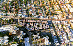 Aerial view of buildings on near Wilshire Blvd in Westwood, LA Stock Photos