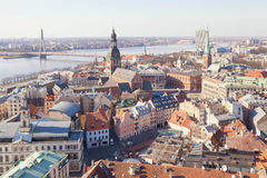 Aerial view of buildings in old center of Riga. Riga, Latvia - March 19, 2015: Aerial view of buildings in old center of Riga Royalty Free Stock Image