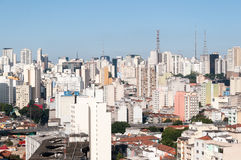 Aerial view of buildings on Paulista avenue Stock Images