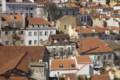 Aerial view of buildings in Portugal. Stock Images