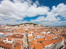 Aerial view on Buildings and street in Lisbona, Portugal. Orange roofs in city center royalty free stock image