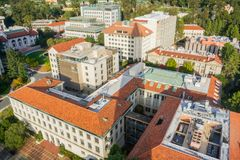 Aerial view of buildings in University of California, Berkeley campus. On a sunny autumn day, San Francisco bay area, California stock photos