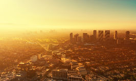 Aerial view of buildings on Wilshire Blvd in LA. Aerial view of buildings on Wilshire Blvd in Westwood, Los Angeles, CA Royalty Free Stock Photos