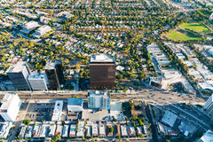 Aerial view of buildings on Wilshire Blvd in LA. Aerial view of buildings on Wilshire Blvd in Westwood, Los Angeles, CA Royalty Free Stock Images