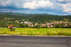 Aerial View Bulgarian Village. Mountains Landscape. Royalty Free Stock Photo