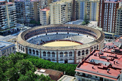 Aerial view of Bullring arena in Malaga Royalty Free Stock Photos