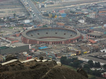Aerial view of bullring in Lima. royalty free stock photo