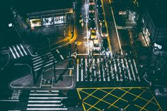 Aerial View of Bunch of People Walking on White Pedestrian Lane during Night Royalty Free Stock Photos