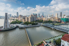 Aerial view of the Bund at Shanghai Royalty Free Stock Images