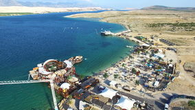 Aerial view of bungee jumping ramp on zrce beach, Pag stock video footage