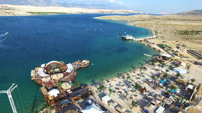 Aerial view of bungee jumping ramp on zrce beach, Pag stock video