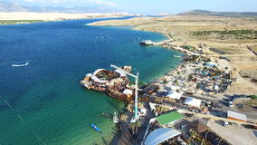 Aerial view of bungee jumping ramp on zrce beach, Pag. Island, Croatia stock video