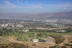 Aerial view of Burbank cityscape. From Hollywood sign trail, California, United States Royalty Free Stock Photography