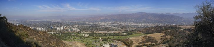 Aerial view of Burbank cityscape. From Hollywood sign trail, California, United States Royalty Free Stock Image