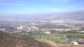 Aerial view of Burbank cityscape. From Hollywood sign trail, California, United States stock video