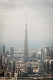 Aerial view on Burj Khalifa in Dubai Royalty Free Stock Photos