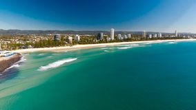 Aerial view of Burleigh Heads - surfing beach on the Gold Coast, Australia. Aerial view of Burleigh Heads - a famous surfing beach suburb on the Gold Coast stock video footage