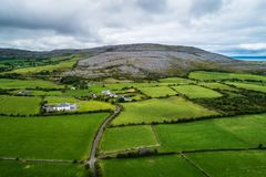 Aerial view of The Burren in Ireland royalty free stock photos