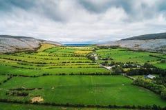 Aerial view of The Burren in Ireland stock photos