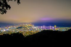 Aerial view of Busan city with Gwangan bridge at nighttime, Sout royalty free stock photography