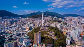Aerial view of Busan city, South Korea. Aerial view from drone. stock image