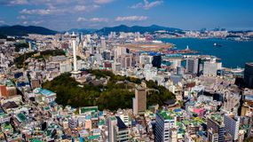 Aerial view of Busan city, South Korea. Aerial view from drone. royalty free stock photography