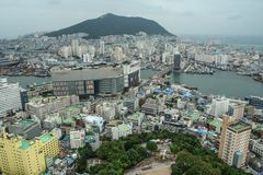 Aerial view of Busan, South Korea stock photography