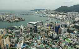 Aerial view of Busan, South Korea royalty free stock photos