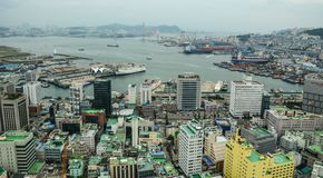 Aerial view of Busan, South Korea royalty free stock photography