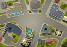 Aerial view of a business centre. Conceptual background illustration showing offices, houses, cityscapes from above Stock Image