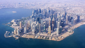 Aerial view of the business district of Doha city, capital of Qatar. DOHA, QATAR - June 5, Aerial view of Doha, Qatar. Crisis in the Persian Gulf region is Stock Photo