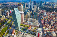 Aerial view business and financial district of Istanbul, Turkey. Aerial view of business and financial district with modern office buildings, tall skyscraper in stock image