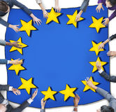 Aerial View with Business People and European Union Flag Royalty Free Stock Photography
