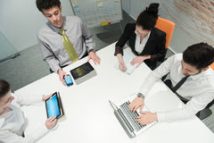 Aerial view of business people group brainstorming on meeting Royalty Free Stock Image