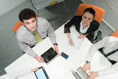 Aerial view of business people group brainstorming on meeting Royalty Free Stock Photo