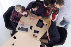 Aerial view of business people group on meeting Royalty Free Stock Image