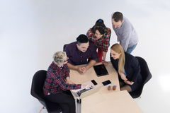 Aerial view of business people group on meeting Royalty Free Stock Photography
