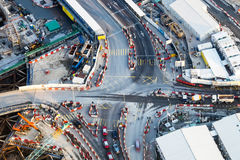 Aerial view of busy crossroad with moving cars. Hong Kong Royalty Free Stock Photography