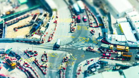 Aerial view of busy crossroad with moving cars. Hong Kong stock footage